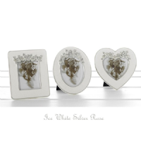 3 x Ice White Silver Rose Mini Photo Frames